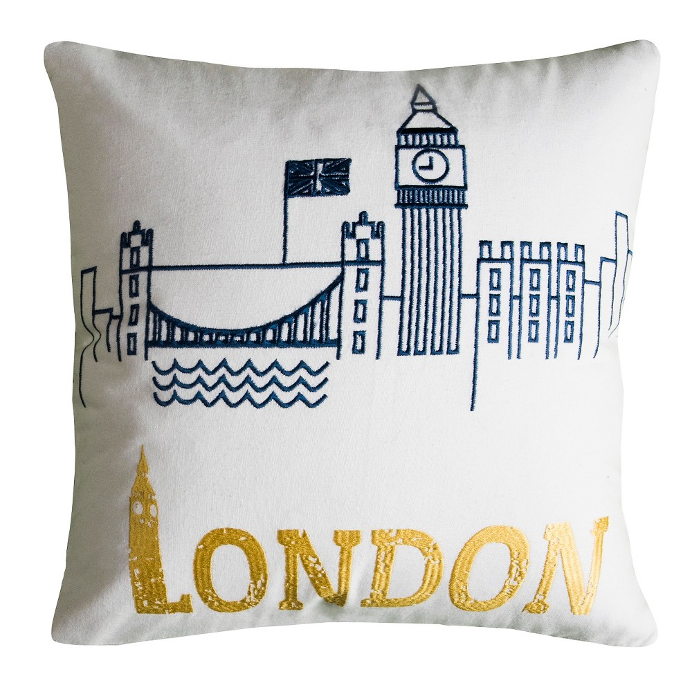 Image of Blue/Yellow London Throw Pillow - (18x18) - Rizzy Home, Multi-Colored