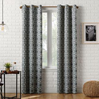 "40x84"" Barnett Trellis Blackout Grommet Curtain Panel Gray-Sun Zero"