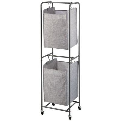mDesign Vertical Laundry Hamper Basket with Wheels - Gray