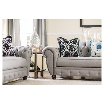 ioHomes Livingston Victorian Style Sofa and Love Seat in Gray