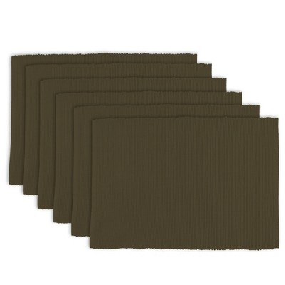 Set of 6 Wine Ribbed Placemat Dark Brown - Design Imports