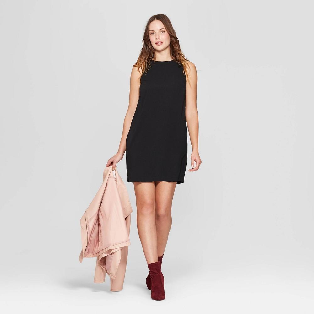 Women's Sleeveless Crewneck Crepe Dress - A New Day Black L