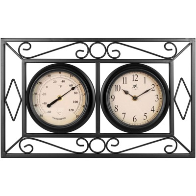 Infinity Instruments 20108BK-TC The Bookend Decorative Outdoor Hanging Wall Clock and Thermometer Combo with Hanging Bracket and Silent Movement