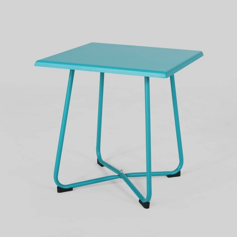 Alder Steel Modern Patio Side Table Teal Christopher Knight Home