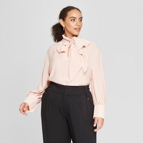 Women s Plus Size Long Sleeve Tie Neck Drapey Blouse - Who What Wear ... 03d2391c01de1
