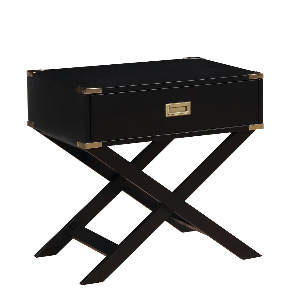 Danner Contemporary Gold Corner Accent Side Table Black - Homes: Inside + Out