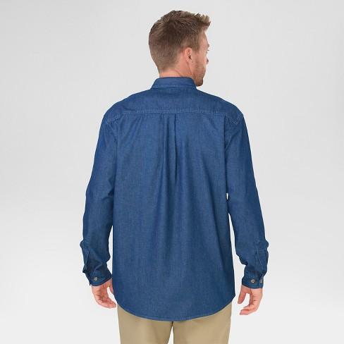 8ba94c9147 Dickies Men s Big   Relaxed Fit Denim Long Sleeve Button-Down Shirt