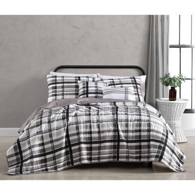 Maris Plaid 5pc Quilt Set - Geneva Home Fashion
