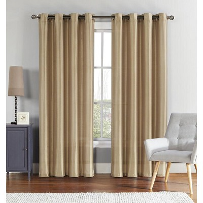GoodGram 2 Pack Ultra Luxurious Faux Silk Semi Sheer Grommet Curtain Panels