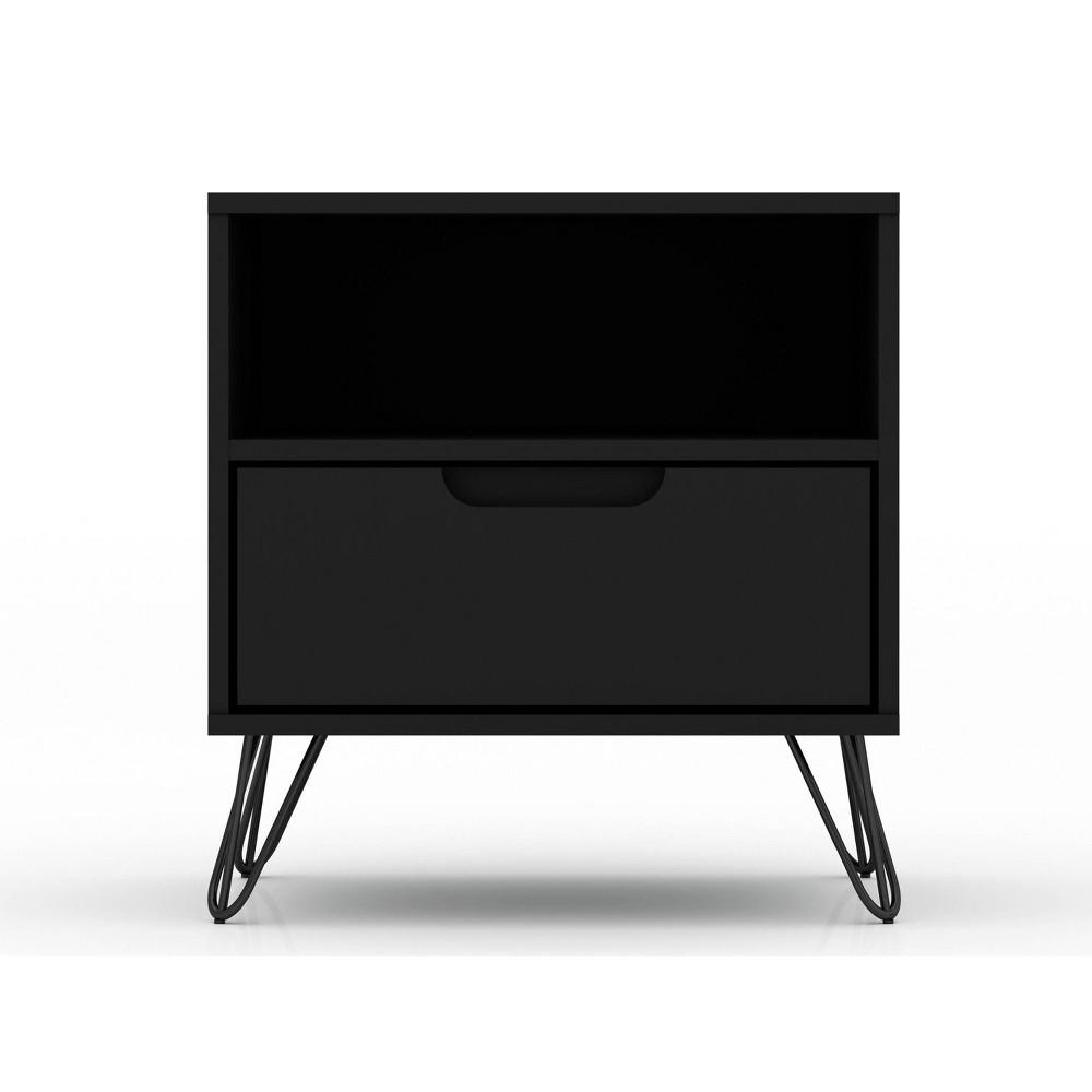 Image of 1.0 Rockefeller Nightstand Black - Manhattan Comfort