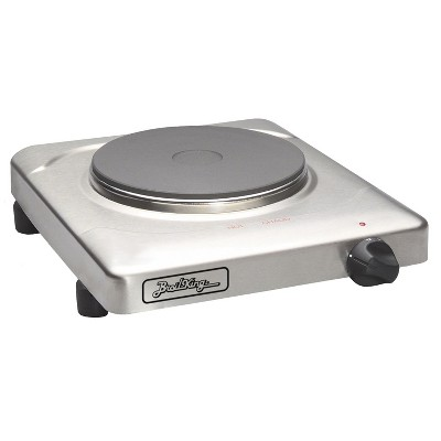 BroilKing PCR-1S Heavy Duty Cast Iron 1500 Watt Heating Disc Single Burner Range Hot Plate with Built-In Thermometer and 4 Non-Skid Feet, Silver