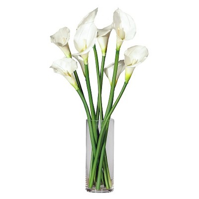 24  x 11  Artificial Calla Lilies in Glass Vase White - Vickerman