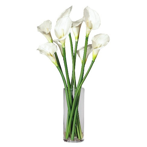 Touch Green Calla Lillies In Glass Vase Natural 24 Target