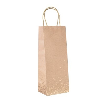 XSmall Foil Scattered Dots Wine Gift Bag Brown - Spritz™