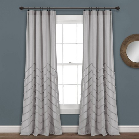 Set Of 2 Chenille Chevron Light Filtering Window Curtain Panel - Lush Décor - image 1 of 4