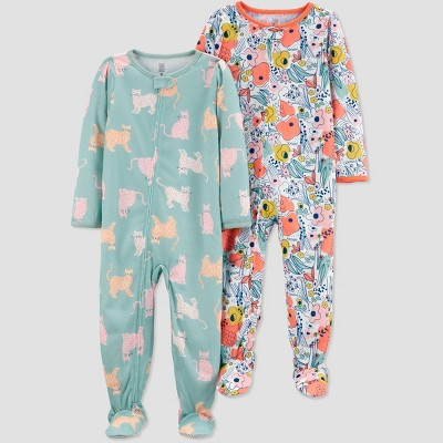 Baby Girls' 2pk Cat Footed Pajama - Just One You® made by carter's Orange/Blue/Pink