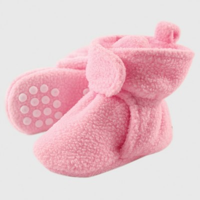 Luvable Friends Baby Girls' Fleece Booties - Light Pink 0-6M