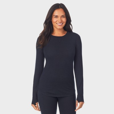 Warm Essentials by Cuddl Duds Women's Soft and Sustainable Thermal Crewneck Top - Black