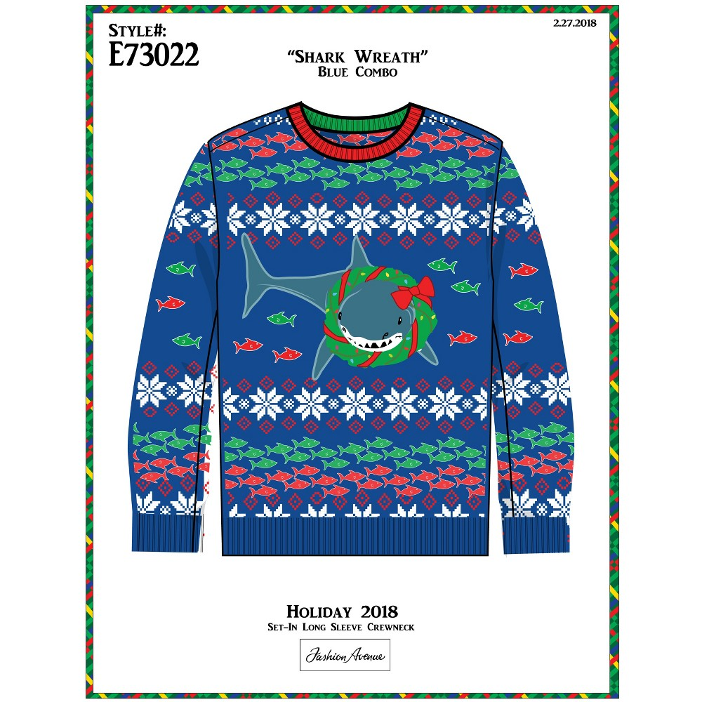 33 Degrees Men's Tall Ugly Holiday Christmas Shark Wreath Long Sleeve Pullover Sweater - Blue Xlt
