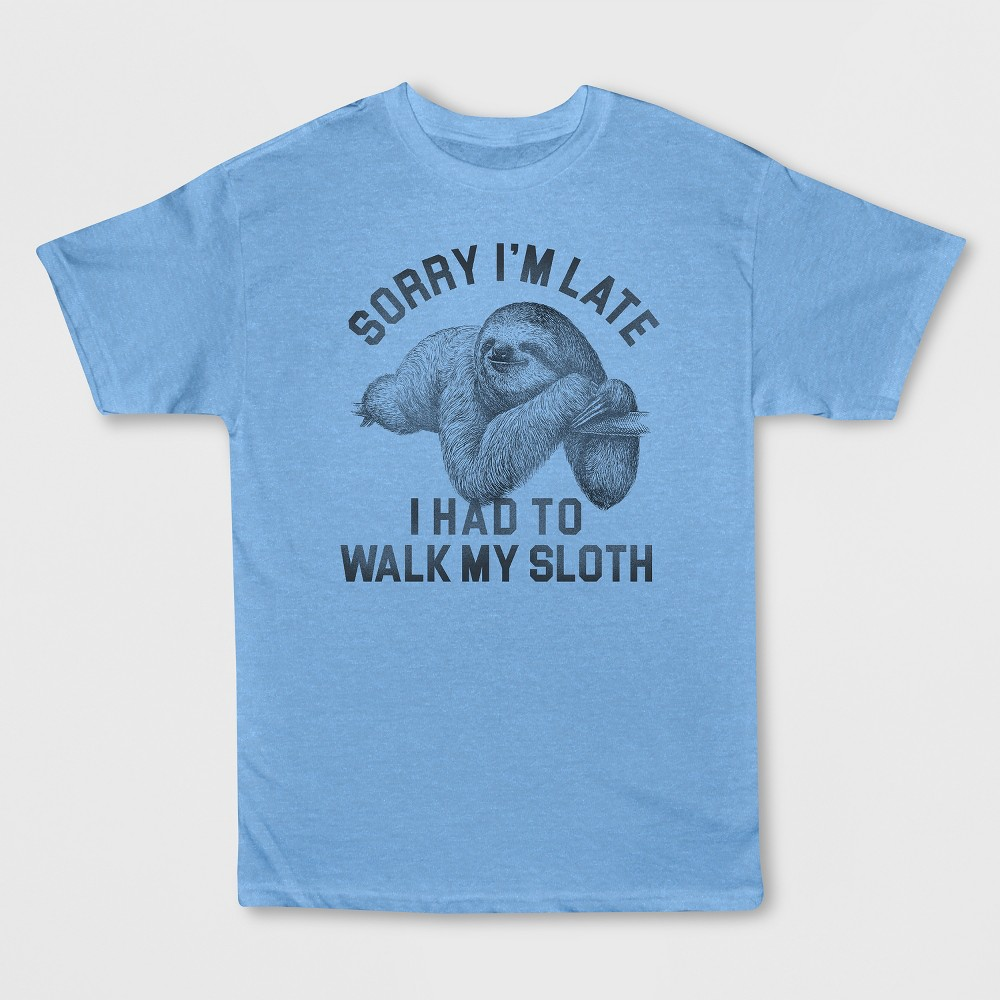 Men's Short Sleeve Walk Sloth Graphic T-Shirt - Light Blue Heather L