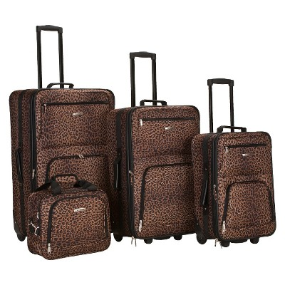 Rockland Safari 4pc Rolling Luggage Set - Leopard