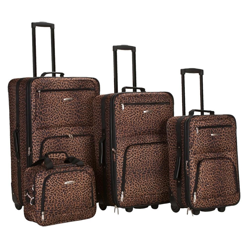 Rockland Safari 4pc Rolling Luggage Set Leopard
