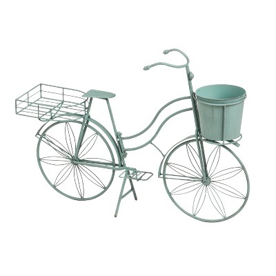 Evergreen Vintage Teal Bicycle Planter Outdoor Safe Decor