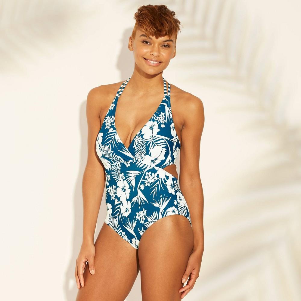 Women's Strappy Back Cut Out Monokini One Piece Swimsuit - Sunn Lab Swim Blue Floral XS