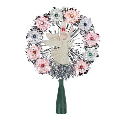 """Northlight 8"""" Pre-Lit Silver Tinsel Wreath with Angel Christmas Tree Topper - Multi Lights"""