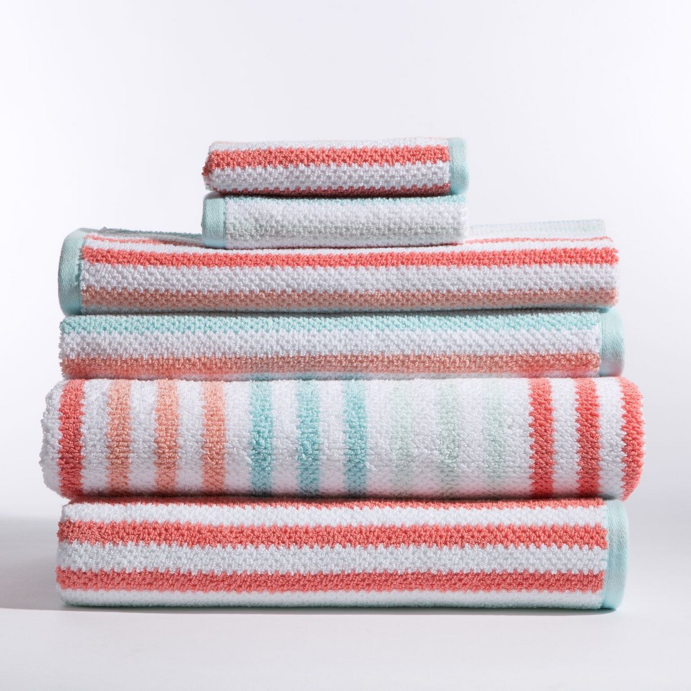 Image of 6pc Jay Stripe Coral (Pink) Bath Towels Sets - Caro Home