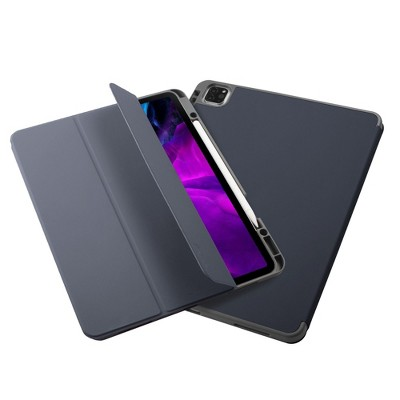 """Insten - Soft TPU Tablet Case For iPad Pro 12.9"""" 2020, Multifold Stand, Magnetic Cover Auto Sleep/Wake, Pencil Charging, Blue"""