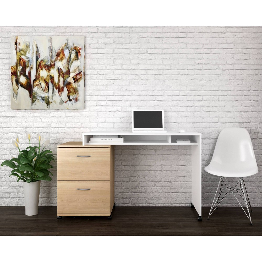 Image of Essentials 2 Piece Home Office Set with 2 Drawer File Cabinet Natural White - Nexera