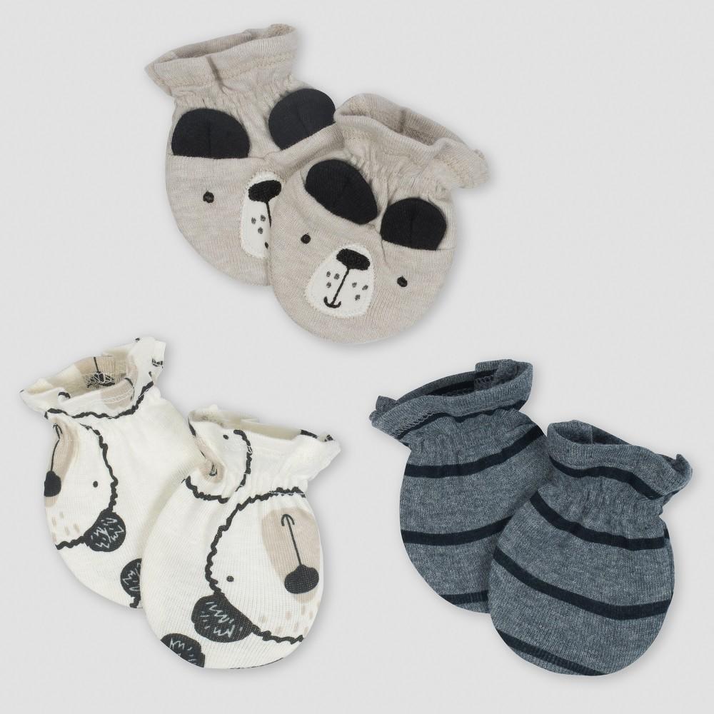 Gerber Baby Boys' 3pk Mittens Bear - Gray/Oatmeal 0/3M