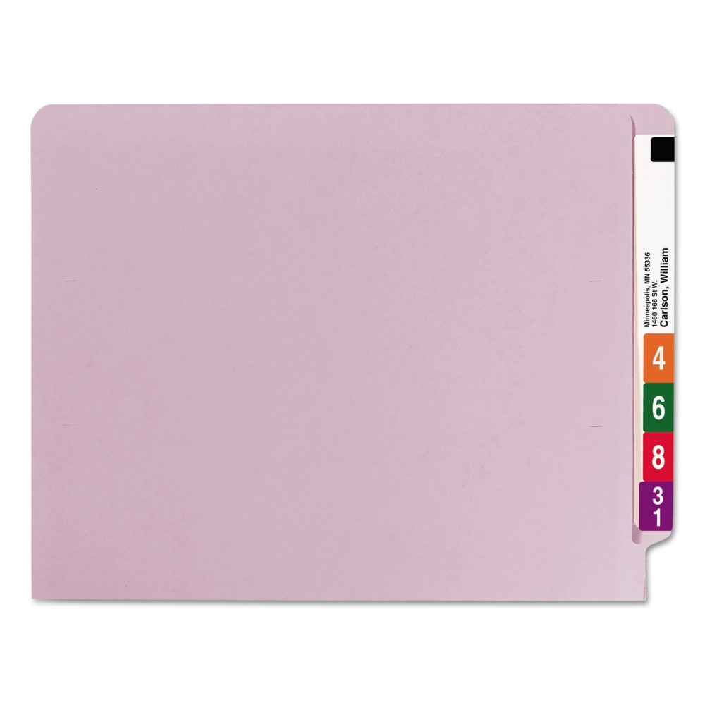 Smead Colored File Folders, Straight Cut Reinforced End Tab, Letter, Lavender (Purple), 100/Box