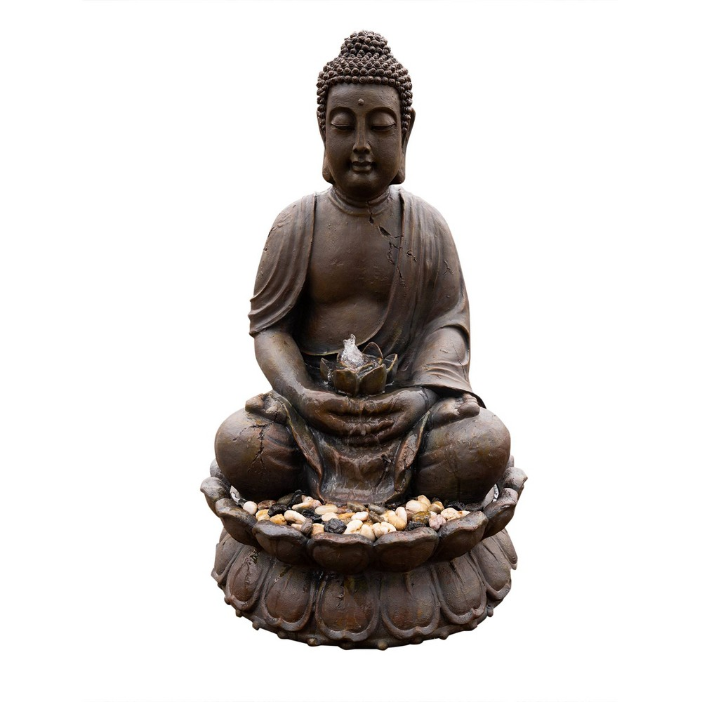 "Image of ""Alpine Corporation 33"""" Buddha Fountain With LED Lights - Light Brown"""