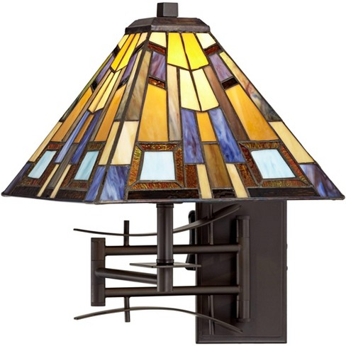 Robert Louis Tiffany Swing Arm Wall Lamp Plug-In Light Fixture Jewel Tone Stained Glass for Bedroom Bedside Living Room Reading - image 1 of 4