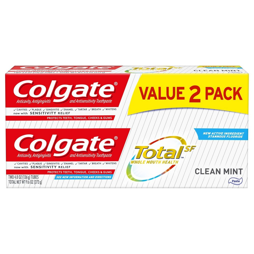 Image of Colgate Total Clean Mint Paste Toothpaste - 4.8oz/2pk