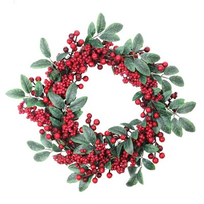 """Northlight 18"""" Unlit Artificial Lush Red Berry and Deep Green Leaf Christmas Wreath"""