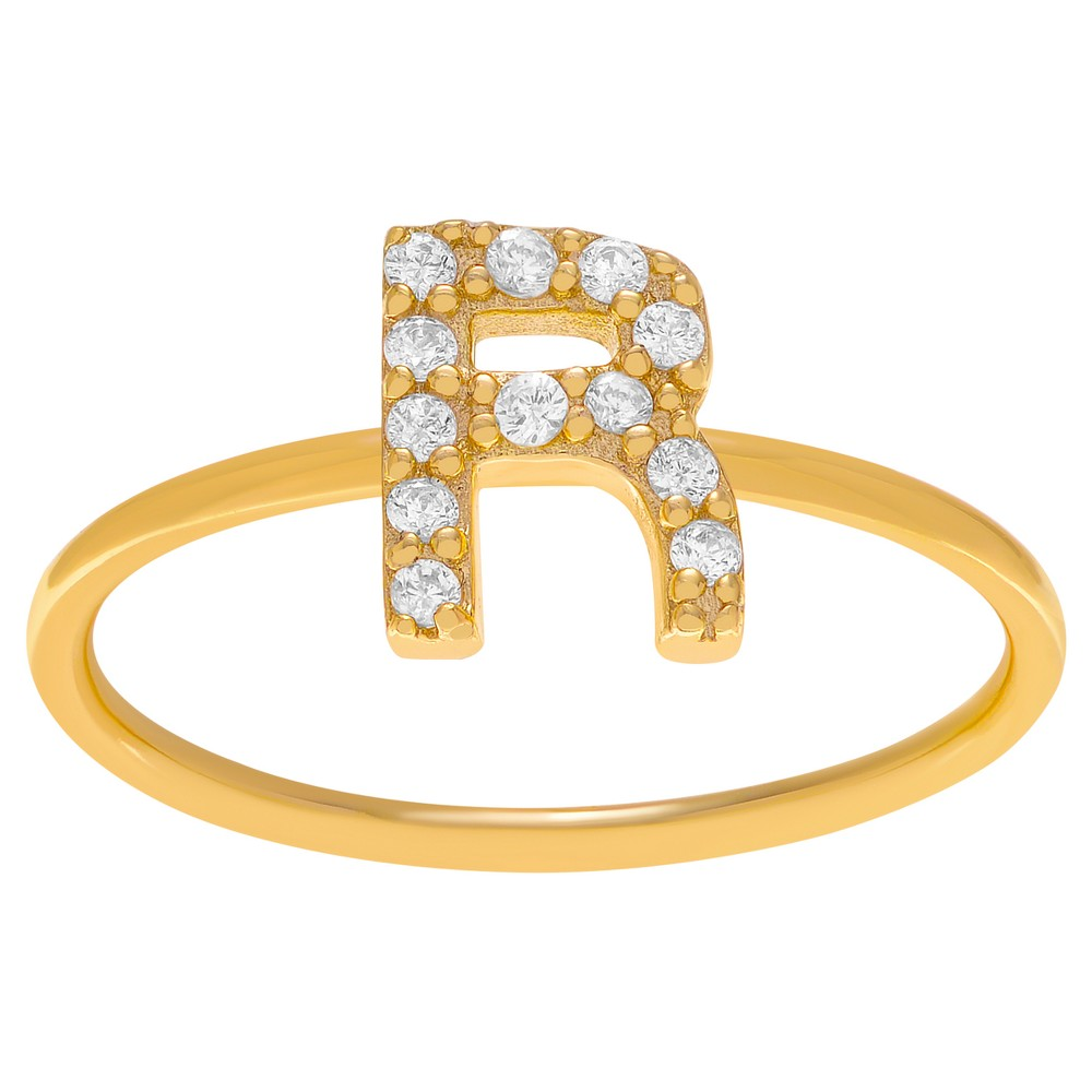 1/6 CT. T.W. Round-cut CZ Initial R Pave Set Ring in Sterling Silver - Gold, 8, Girl's, Gold Letter R