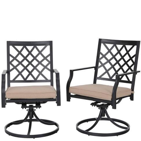 2pc Patio Swivel Rocker Chairs Black, Patio Furniture Swivel Rocker Chair