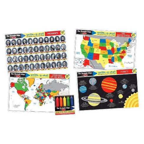Melissa & Doug® Advanced Subject Skills Placemat Set: United States, Presidents, Countries of the World, and Planets 8pc - image 1 of 1