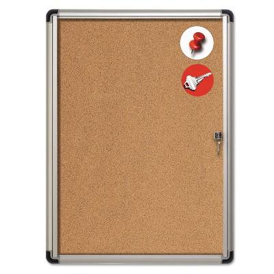 MasterVision Slim-Line Enclosed Cork Bulletin Board 28 x 38 Aluminum Case VT630101690