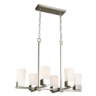 Ciara Springs 6 Light Chandelier Silver/White - EGLO