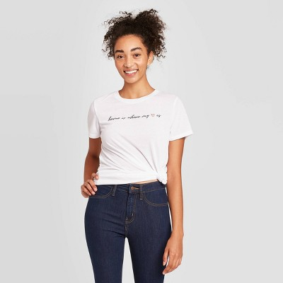 Women's Home is Where the Heart is Short Sleeve Graphic T-Shirt - White