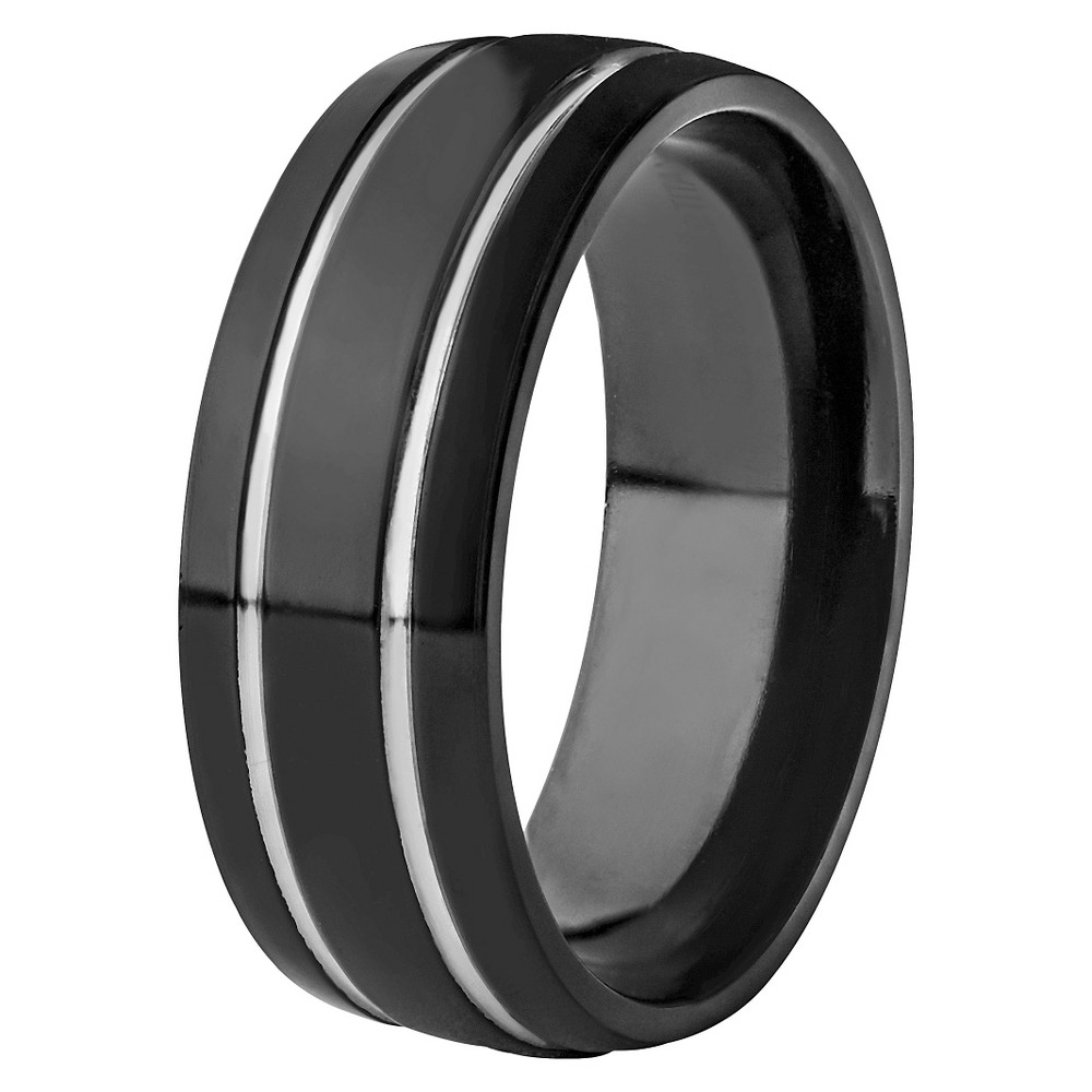 Men's Titanium Plated Grooved Ring - Black (8mm), Size: 10