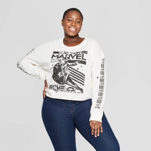 59e9a14a3efed Women's Plus Size Captain Marvel Long Sleeve Graphic T-Shirt (Juniors') -  White
