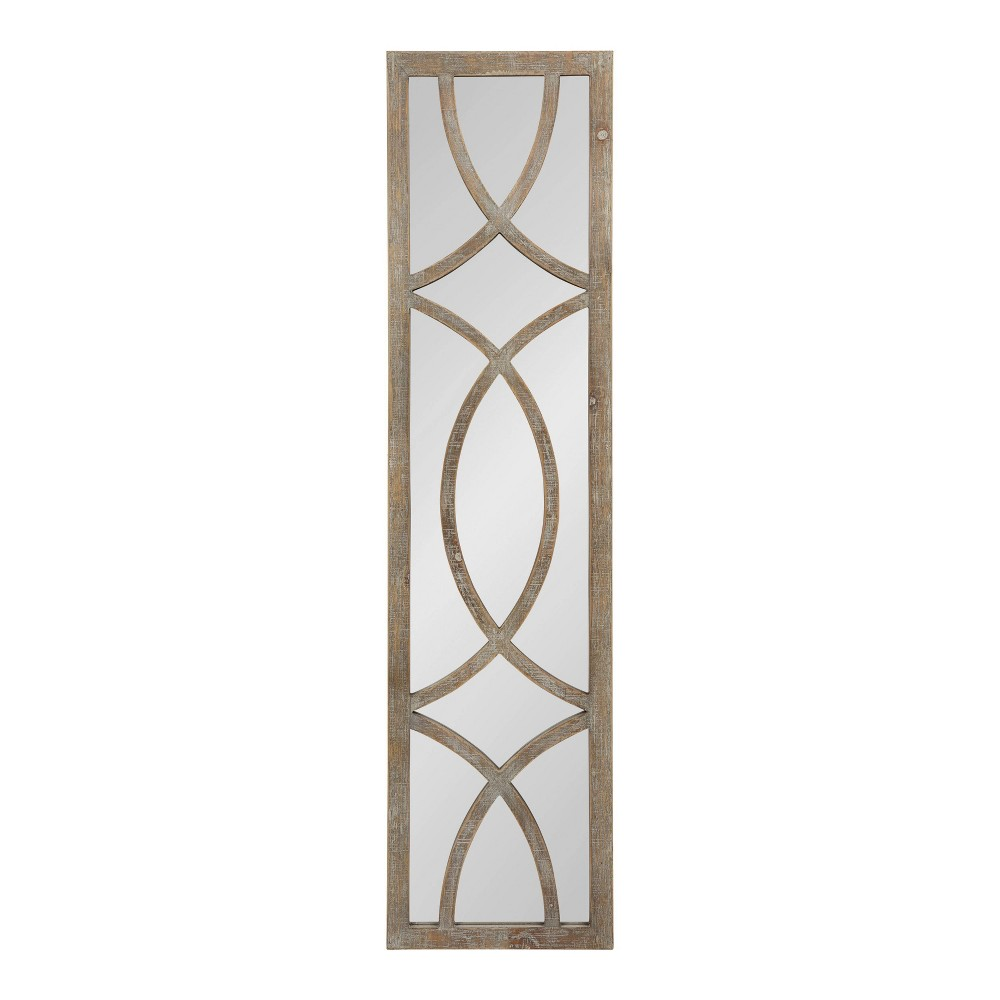 "Image of ""12""""x48"""" Tolland Wood Panel Wall Mirror Brown - Kate and Laurel"""