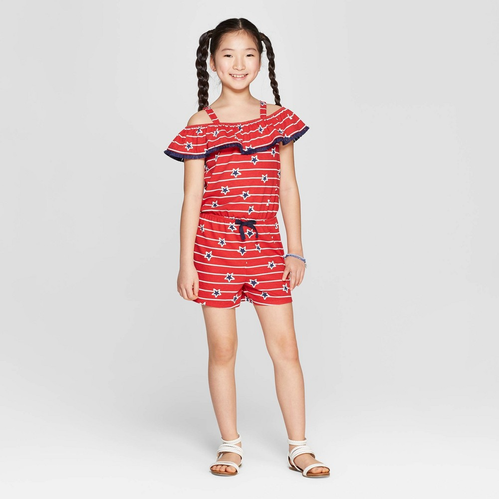 Girls' Star Print Knit Romper - Cat & Jack Red M