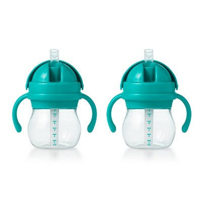 OXO TOT Spill-Proof Straw Cup with Handles - 2pk/6oz - Teal