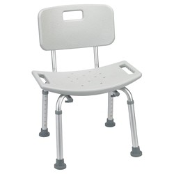 Drive Medical Bathroom Safety Shower Tub Bench Chair with Back, Gray